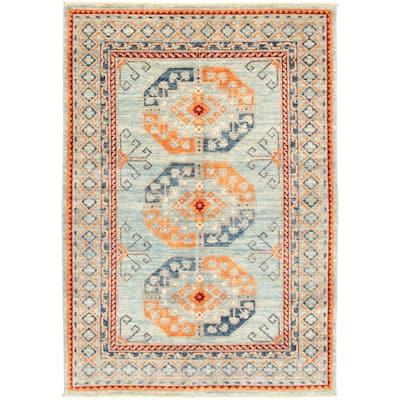 Hand-knotted Finest Peshawar Ziegler Blue Wool Rug