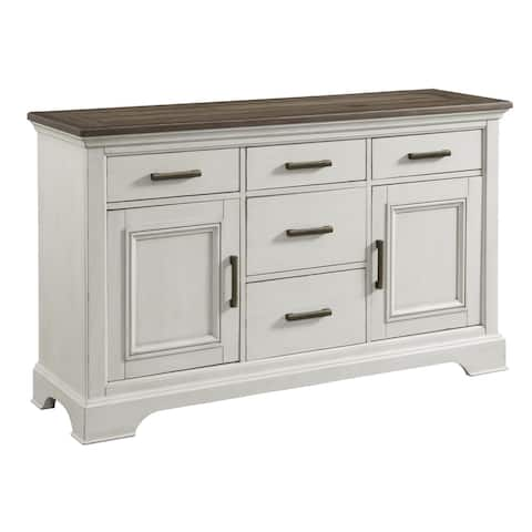 Drake Rustic White and French Oak 5-drawer Sideboard
