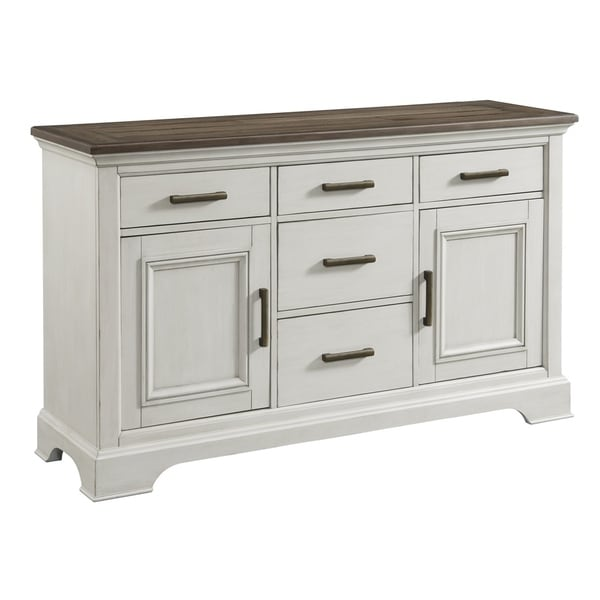 Drake Rustic White and French Oak 5-drawer Sideboard. Opens flyout.