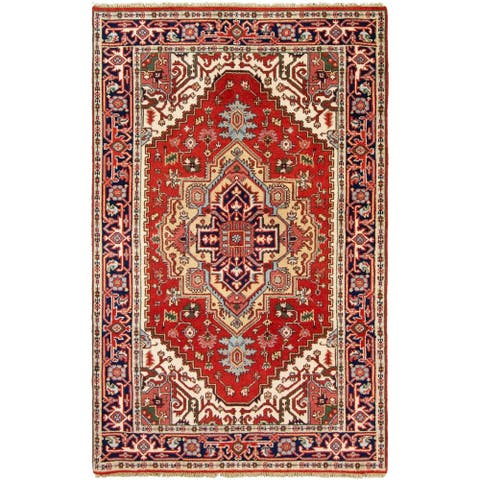 Hand Hooked Serapi Heritage Red Wool Rug - 4'11 x 7'10
