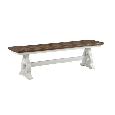 Drake Rustic White and French Oak Dining Bench with Wood Seat
