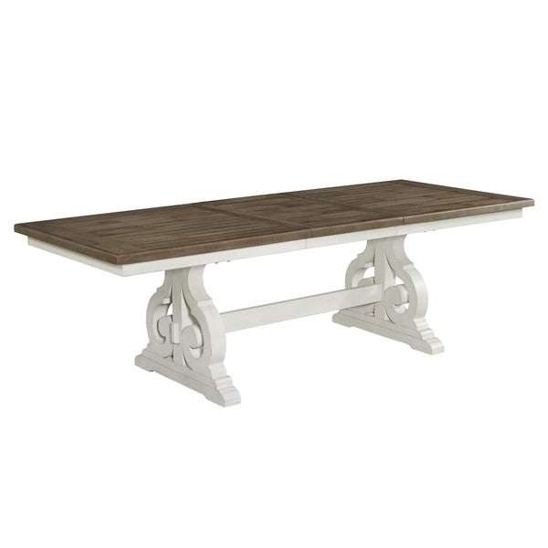 Drake Rustic White and French Oak Trestle Table. Opens flyout.