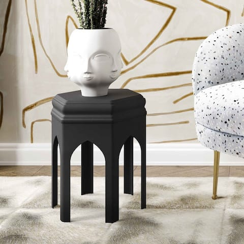 Fes Black Textured Side Table