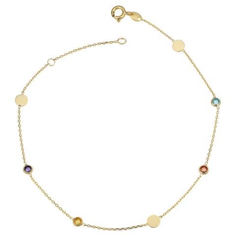 14k Yellow Gold Disc and Briolette Cut Multi Gemstone Station Ankle Bracelet (adjusts to 9 or 10 inches)