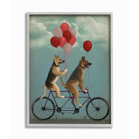 Stupell Industries German Shepard Dogs On Bicycle with Balloons Grey Framed, 11 x 14, Proudly Made in USA - 11 x 14