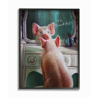 Porch & Den 'I'm Beautiful Painted Pig in Mirror' Framed Lithograph