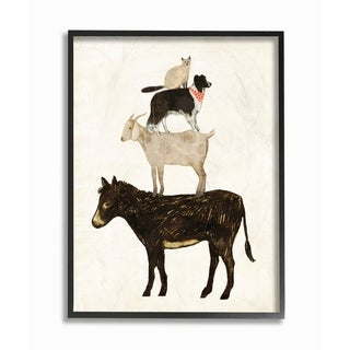 Stupell Industries Donkey Goat Dog and Cat Barnyard Friends Stacked Farm Animals Black Framed, 24 x 30, Proudly Made in USA