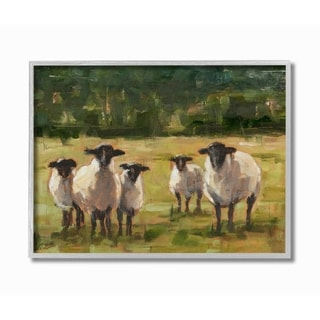 Stupell Industries Flock of Sheep Family Painting Grey Framed, 16 x 20, Proudly Made in USA - 16 x 20