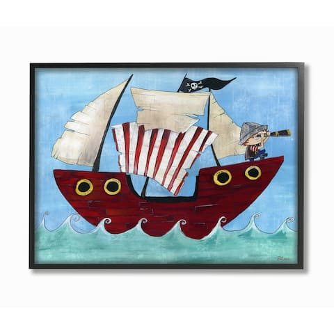 The Kids Room by Stupell Pirate Ship At Sea Black Framed, 11 x 14, Proudly Made in USA - 11 x 14