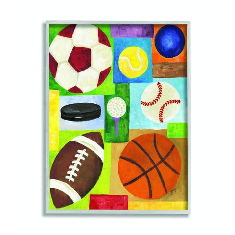 The Kids Room by Stupell Multi-Sport Grey Framed, 16 x 20, Proudly Made in USA - 16 x 20