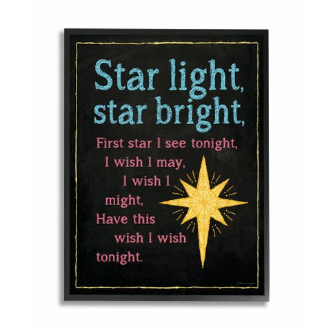 The Kids Room by Stupell Star Light Star Bright Nursery Rhyme Black Framed, 11 x 14, Proudly Made in USA - 11 x 14
