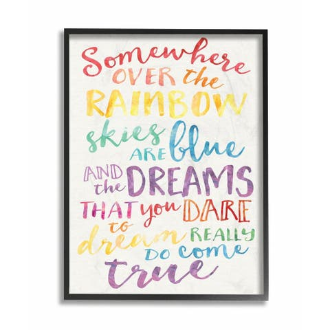 The Kids Room by Stupell Somewhere Over the Rainbow Watercolors Black Framed, 11 x 14, Proudly Made in USA - 11 x 14