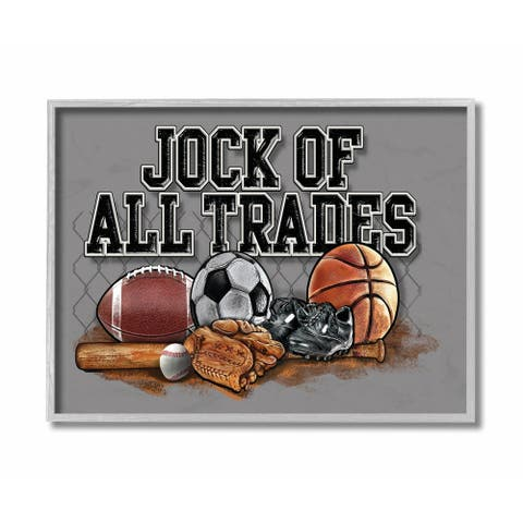 The Kids Room by Stupell The Stupell Home Decor Art, Jock Of All Trades Sports Balls Grey Framed, 11 x 14, Proudly Made in USA