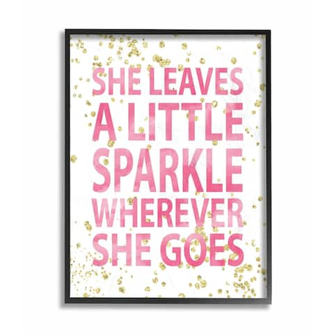 The Kids Room by Stupell She Leaves a Little Sparke Black Framed, 24 x 30, Proudly Made in USA - 24 x 30