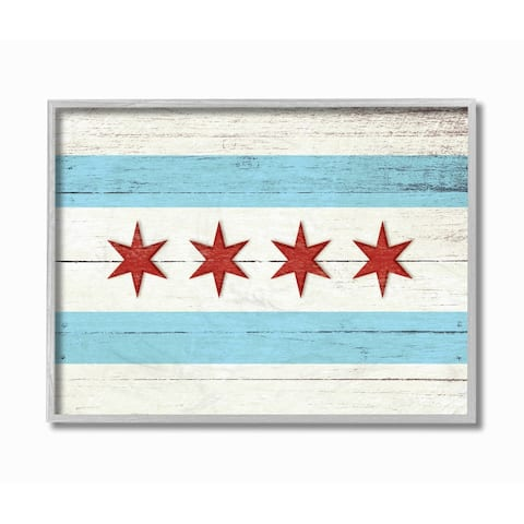 Stupell Industries Chicago Flag Distressed Wood Look Grey Framed, 11 x 14, Proudly Made in USA - 11 x 14