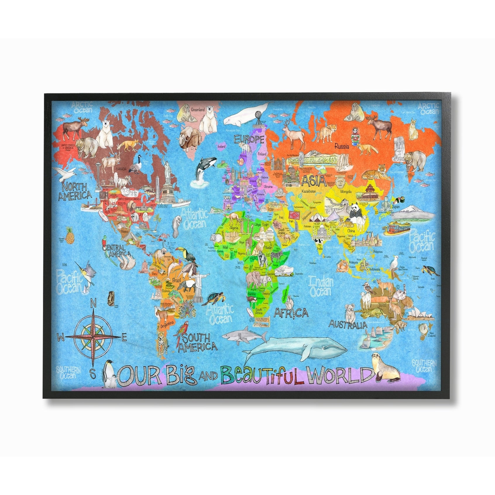 The Kids Room by Stupell Our Big Beautiful World Map Black Framed, 11 x 14,  Proudly Made in USA - 11 x 14