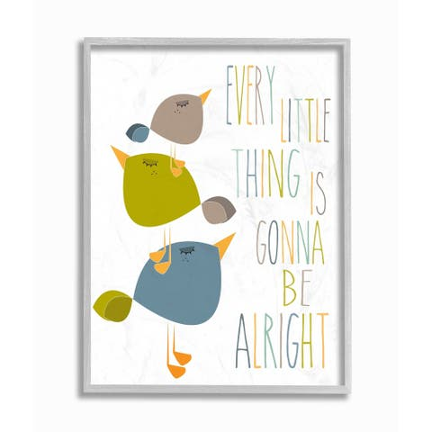 The Kids Room by Stupell Three Little Birds Print Green Tan and Blue Grey Framed, 16 x 20, Proudly Made in USA - 16 x 20