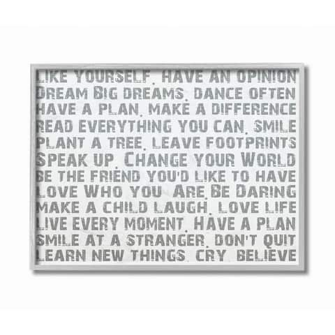 Stupell Industries Stupell Industries Like Yourself Inspirational Typography Wall Art Grey Framed, 11 x 14, Proudly Made in USA