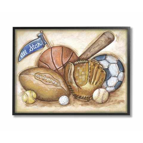 The Kids Room by Stupell All Star Multi Sport On Brown Background Black Framed, 11 x 14, Proudly Made in USA - 11 x 14