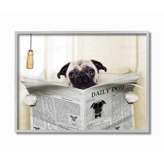 Porch & Den 'Pug Reading Newspaper in Bathroom' Framed Lithograph