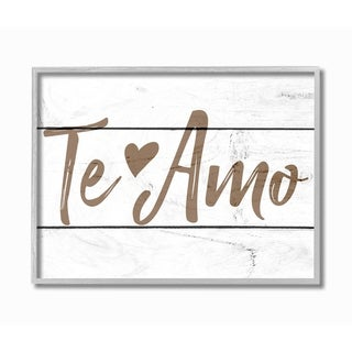 Stupell Industries Rustic Minimal Te Amo White Planked Spanish Typography Grey Framed, 11 x 14, Proudly Made in USA - 11 x 14