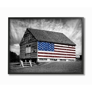 Stupell Industries Black and White Farmhouse Barn American Flag Black Framed, 24 x 30, Proudly Made in USA - 24 x 30