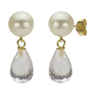DaVonna 14k Gold White FW Pearl and Rose Quartz Drop Earrings (6-6.5 mm)