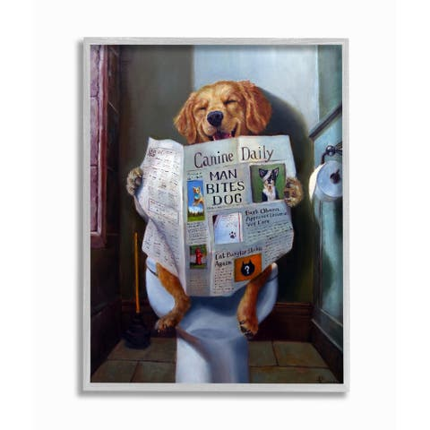 Stupell Industries Dog Reading the Newspaper On Toilet Funny Painting Grey Framed, 11 x 14, Proudly Made in USA - 11 x 14