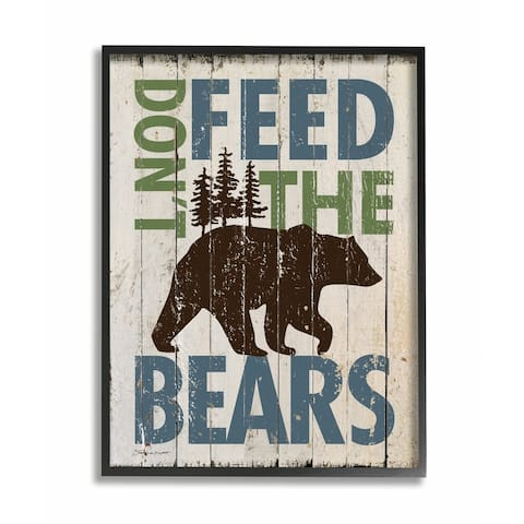 Stupell Industries Don't Feed The Bears Black Framed, 16 x 20, Proudly Made in USA - 16 x 20
