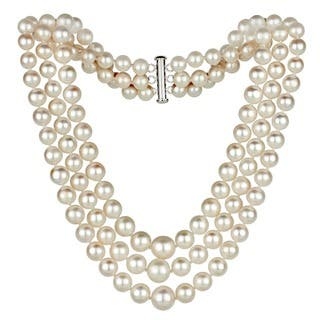 DaVonna Silver White FW Pearl Graduated 3-strand 16-inch Necklace (4-8.5 mm)|https://ak1.ostkcdn.com/images/products/3033582/P11176463.jpg?impolicy=medium