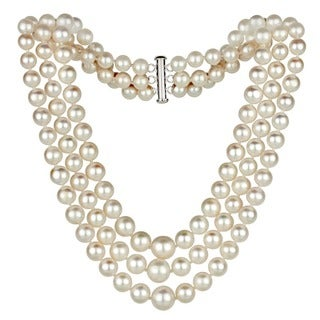 DaVonna Silver 4-8.5 mm White Freshwater Pearl Graduated 3-strand Necklace 16-inch