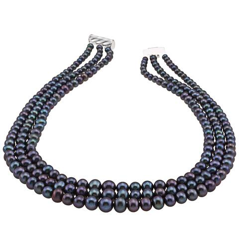 DaVonna Silver Black FW Pearl Graduated 3-strand 16-inch Necklace (4-8.5 mm)