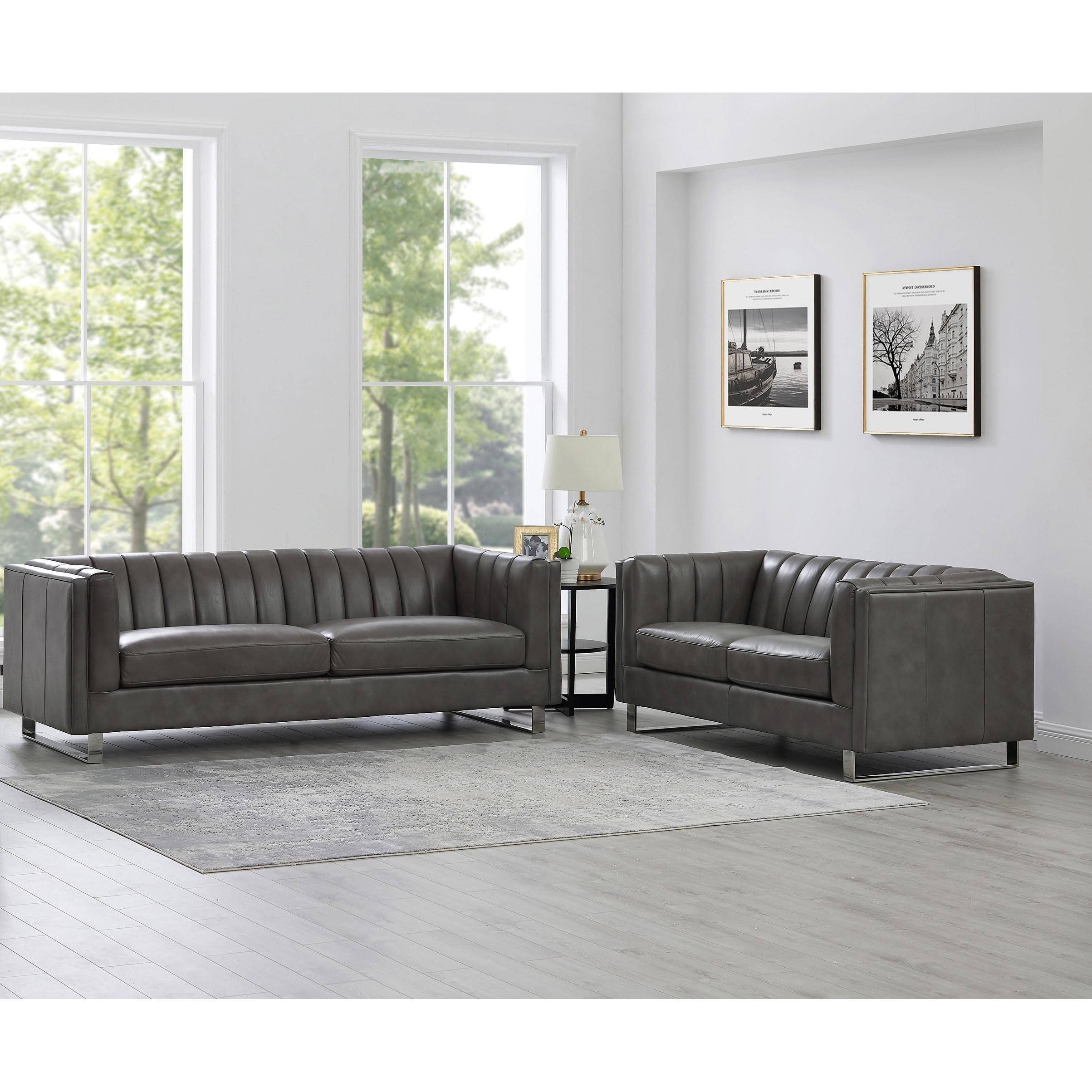 Genuine Leather Sofa And Loveseat Set
