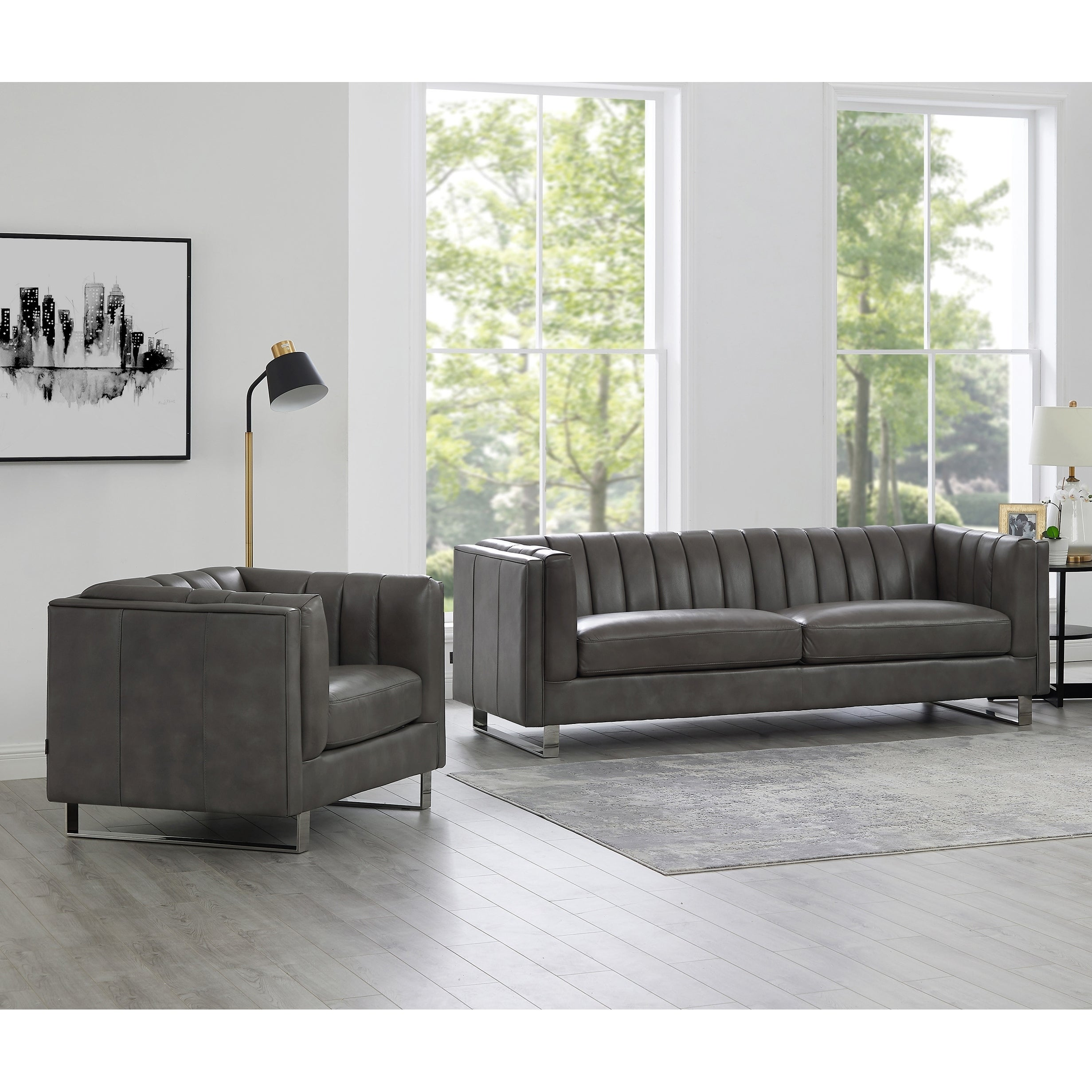 Genuine Leather Sofa And Chair Set