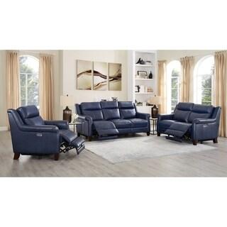 Nesco Leather Power Reclining Sofa/Loveseat/Chair Set with Adjustable Headrest/Lumbar Support
