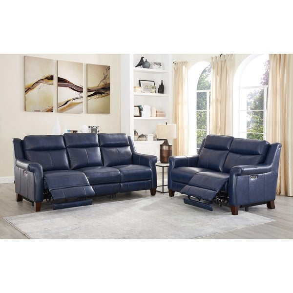 Nesco Leather Power Reclining Sofa and Loveseat Set with Adjustable Headrest/Lumbar Support