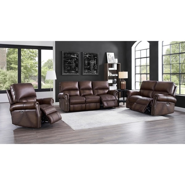 Subban Power Leather Reclining Sofa/Loveseat/Chair Set