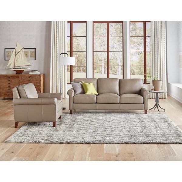 Basalt Genuine Leather Sofa and Chair Set
