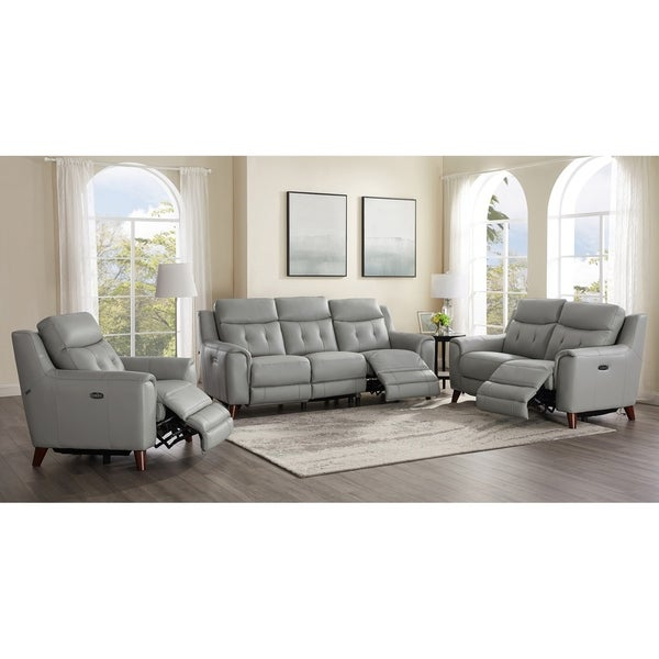 Tierra Leather Power Reclining Sofa/Loveseat/Chair Set with Adjustable Headrest/Lumbar Support