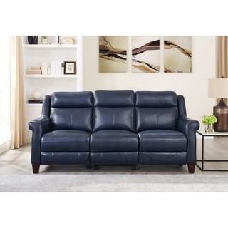 Nesco Leather Power Reclining Sofa with Adjustable Headrest/Lumbar Support
