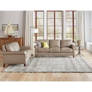 Basalt Genuine Leather Sofa and Loveseat Set