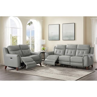 Tierra Leather Power Reclining Sofa and Loveseat Set with Adjustable Headrest/Lumbar Support
