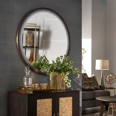 Blackmore Grey Frosted Edge Round Wall Mirror by iNSPIRE Q Bold