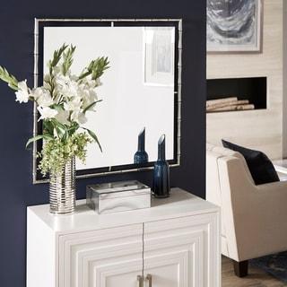 Eduardo Chrome Finish Bamboo Frame Square Wall Mirror by iNSPIRE Q Bold