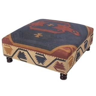 "Handmade Tribal Kilim Upholstered Ottoman (India) - 40"" L x 40"" W x 16"" H"