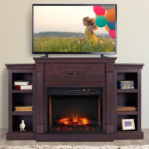 HOMCOM Electric Freestanding Fireplace 1400W Artificial Flame Effect with Detachable Side Cabinets, Wood