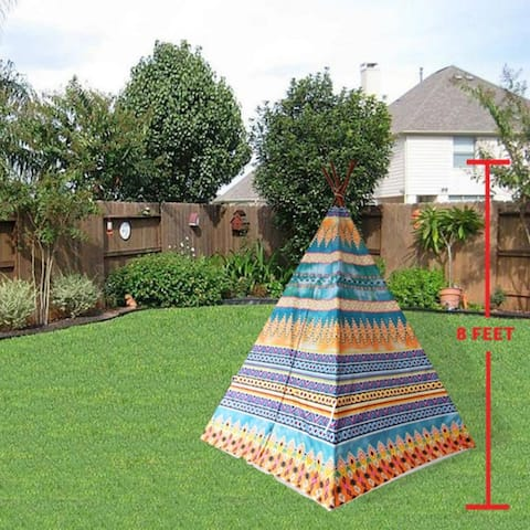 8' Extra Large Teepee Play Tent - peacock color mix