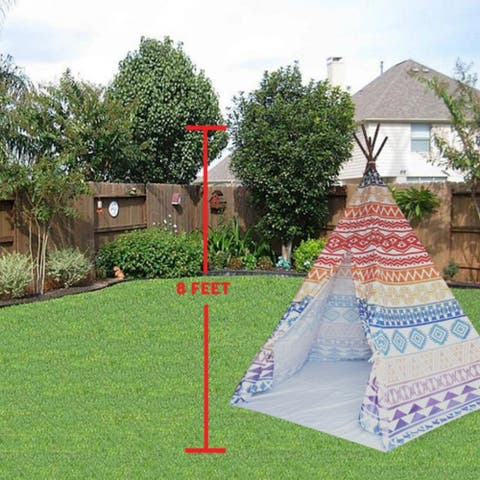 8' Extra Large Teepee Play Tent - indian tribe color mix