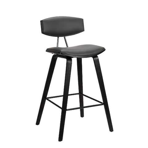 """Fox 25.5"""" Mid-Century Counter Height Barstool in Grey Faux Leather with Black Brushed Wood"""
