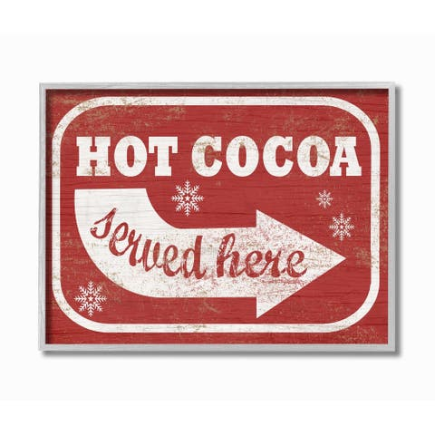 Stupell Industries Holiday White and Red Vintage Sign Hot Cocoa Served Here Grey Framed, 11 x 14, Proudly Made in USA - 11 x 14